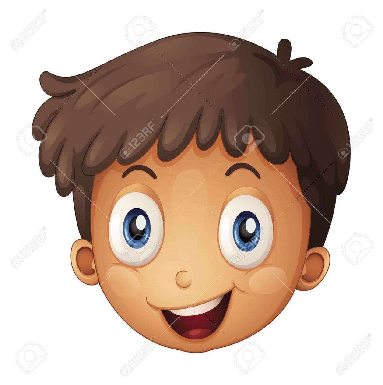 Illustration Of A Face Of A Boy On A White Background Royalty Free.