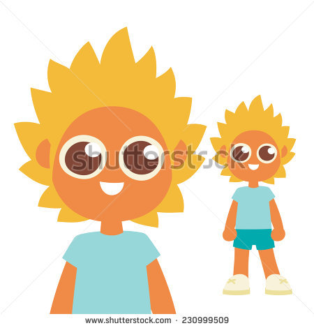 Funny Blonde Hair Style Boy Brown Stock Vector 230999509.