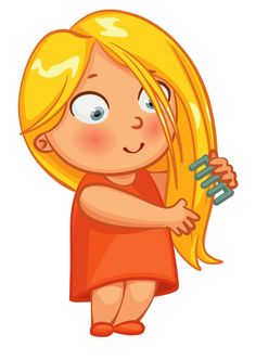Boy Brushing Hair Clipart N.