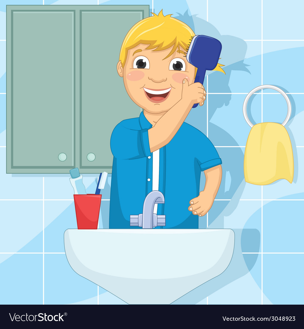 Little Boy Brushing Hair.