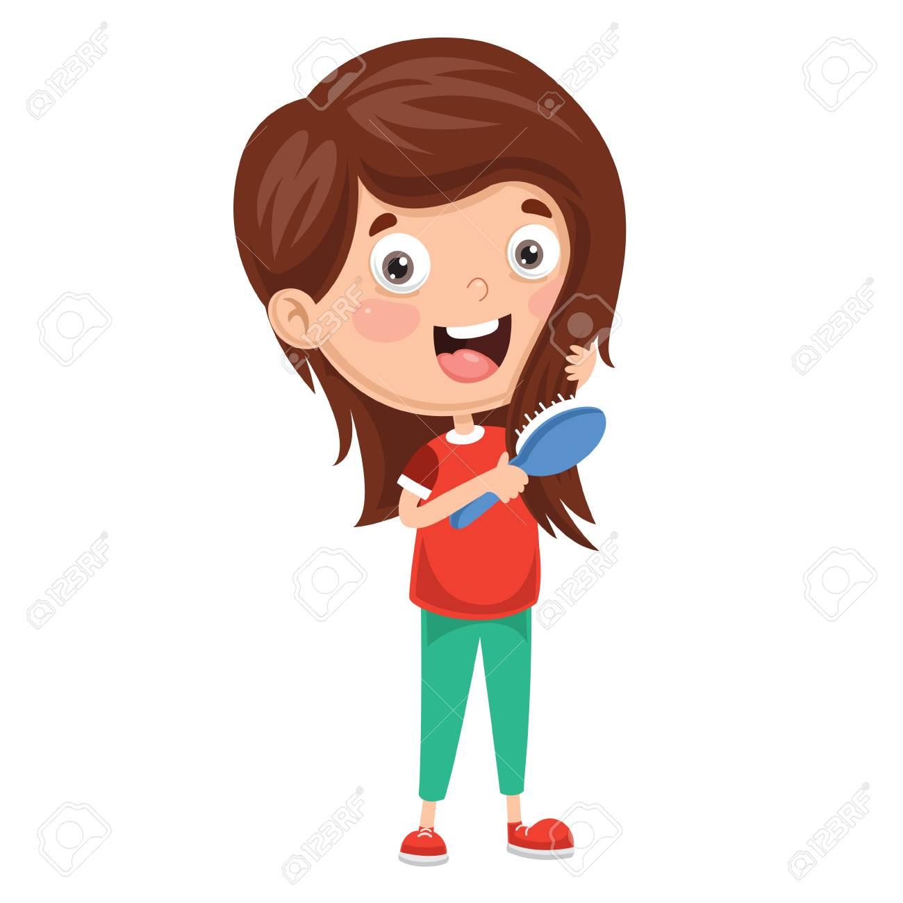 Vector Illustration Of Kid Brushing Hair.