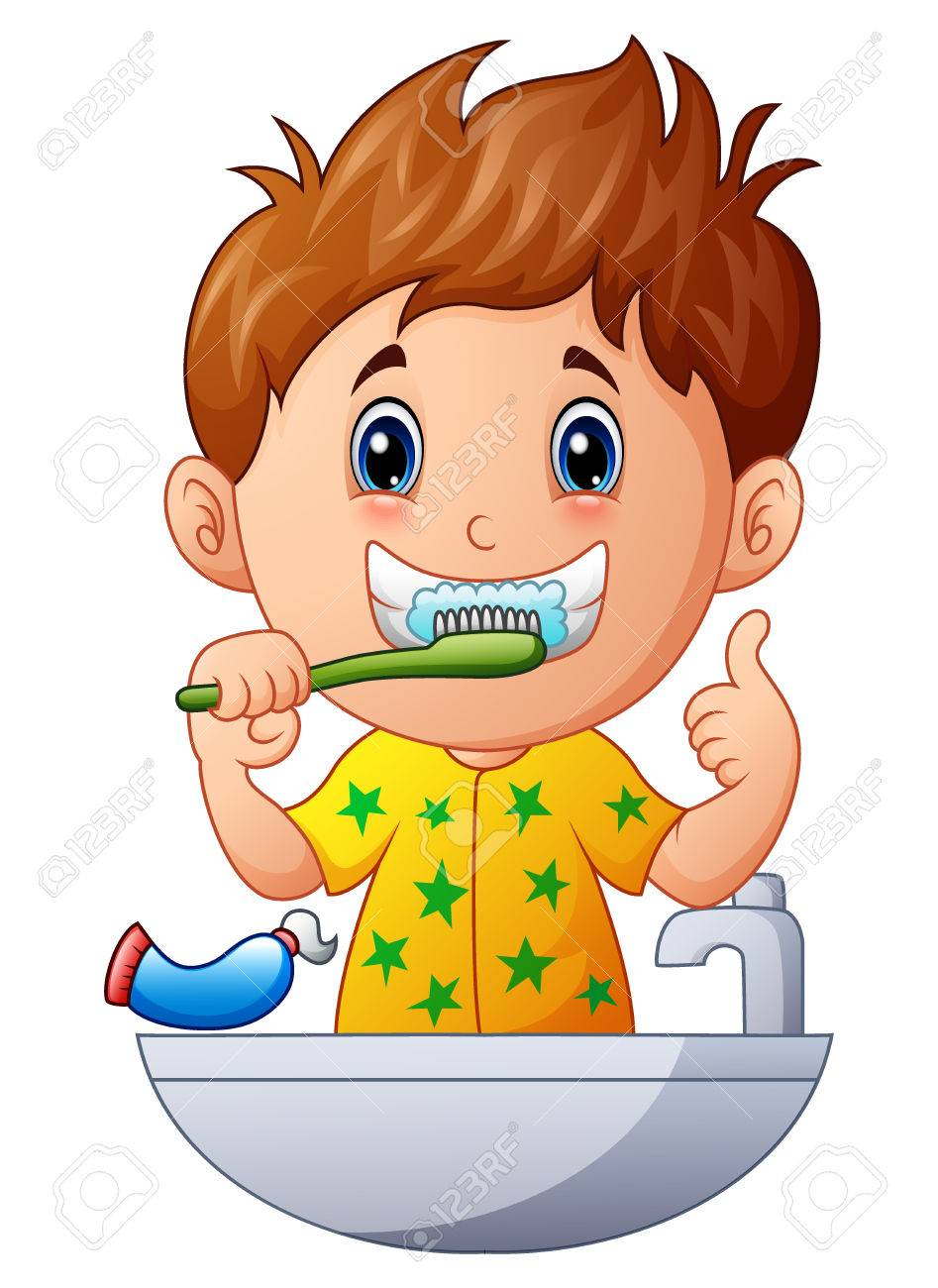 Vector illustration of Cute boy brushing teeth.
