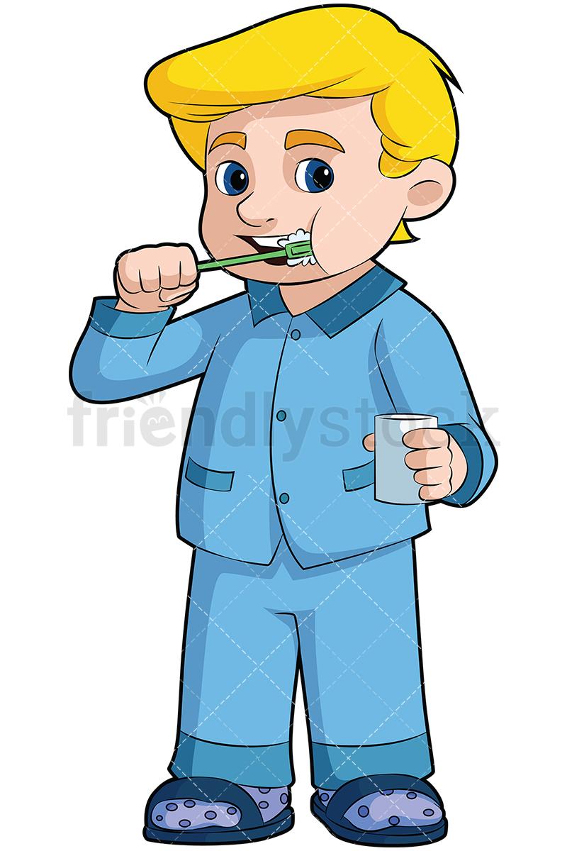 Little Boy Brushing His Teeth.