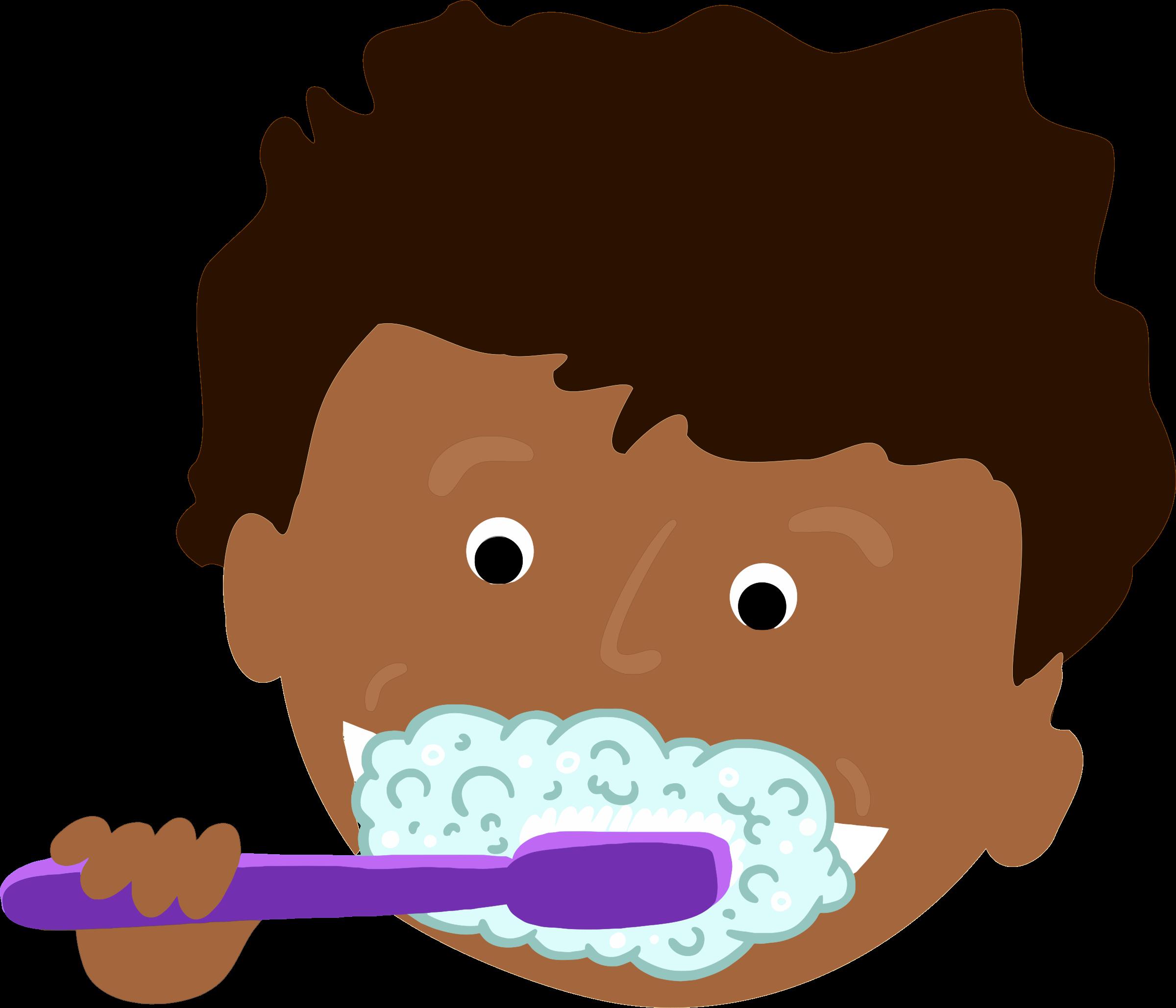 Boy Brushing Teeth Clipart.
