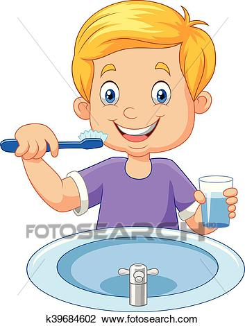 Cute little boy brushing teeth Clipart.