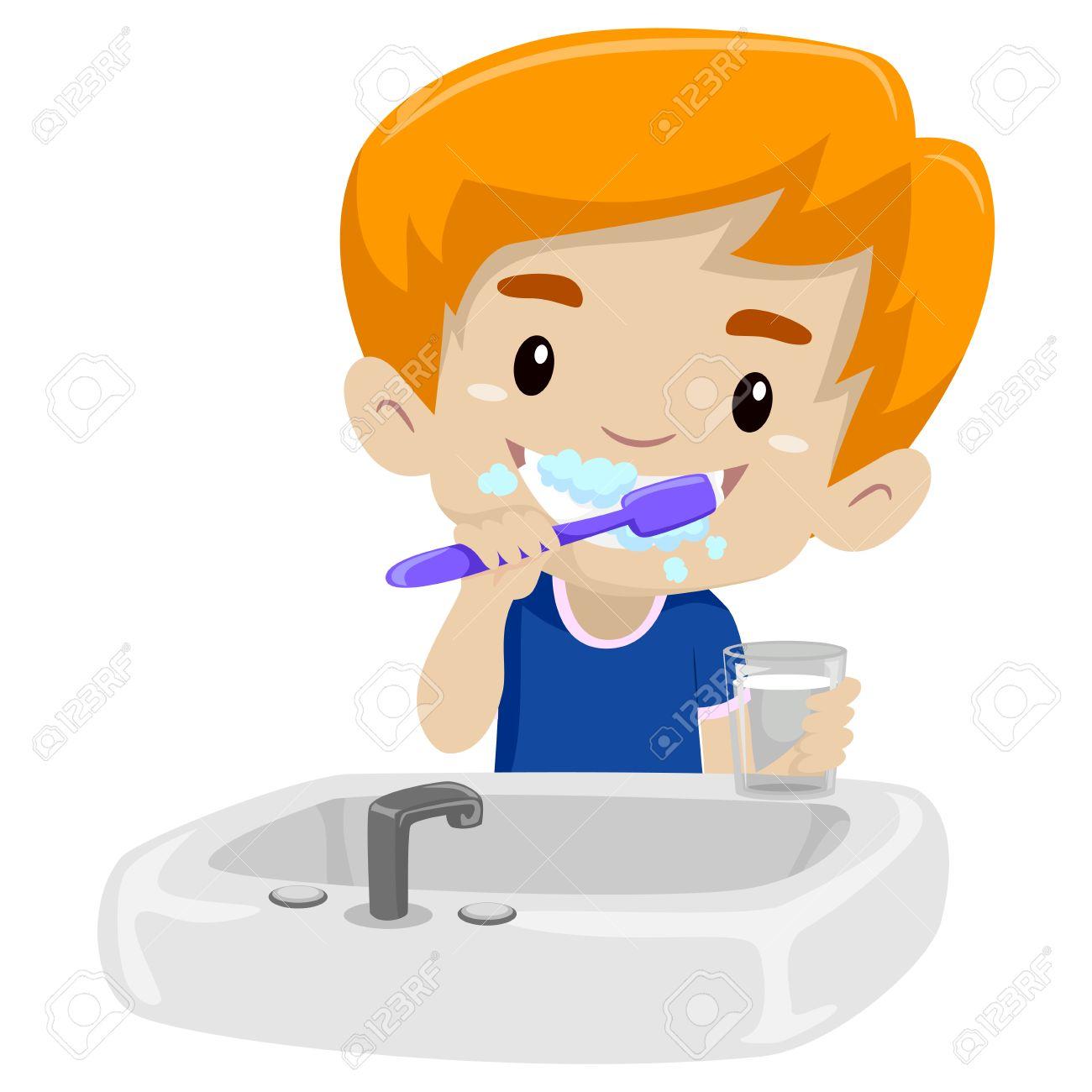 Vector Illustration of Kid Boy Brushing her teeth.