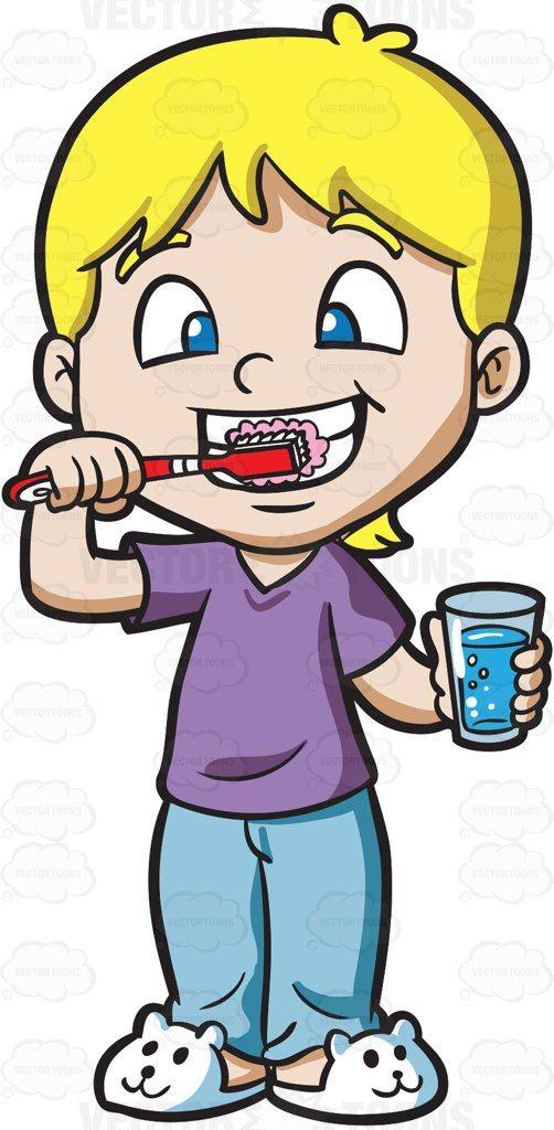 A cute boy brushing his teeth #cartoon #clipart #vector #vectortoons.