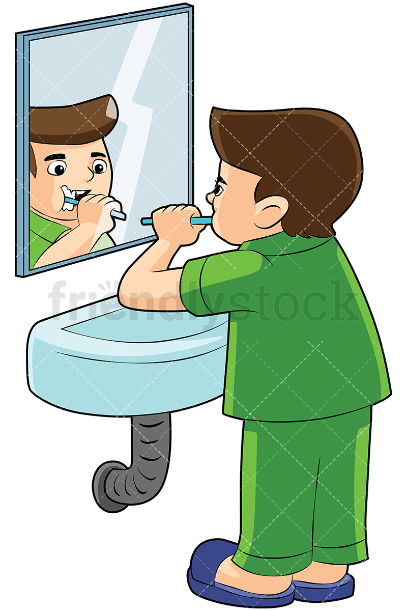 Little Boy Brushing His Teeth In Front Of A Mirror.
