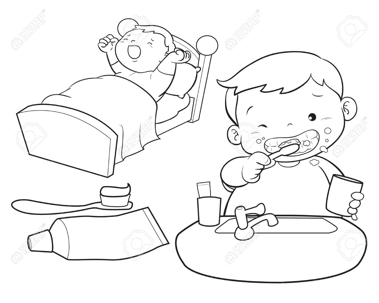 Brush Your Teeth Clipart Black And White.