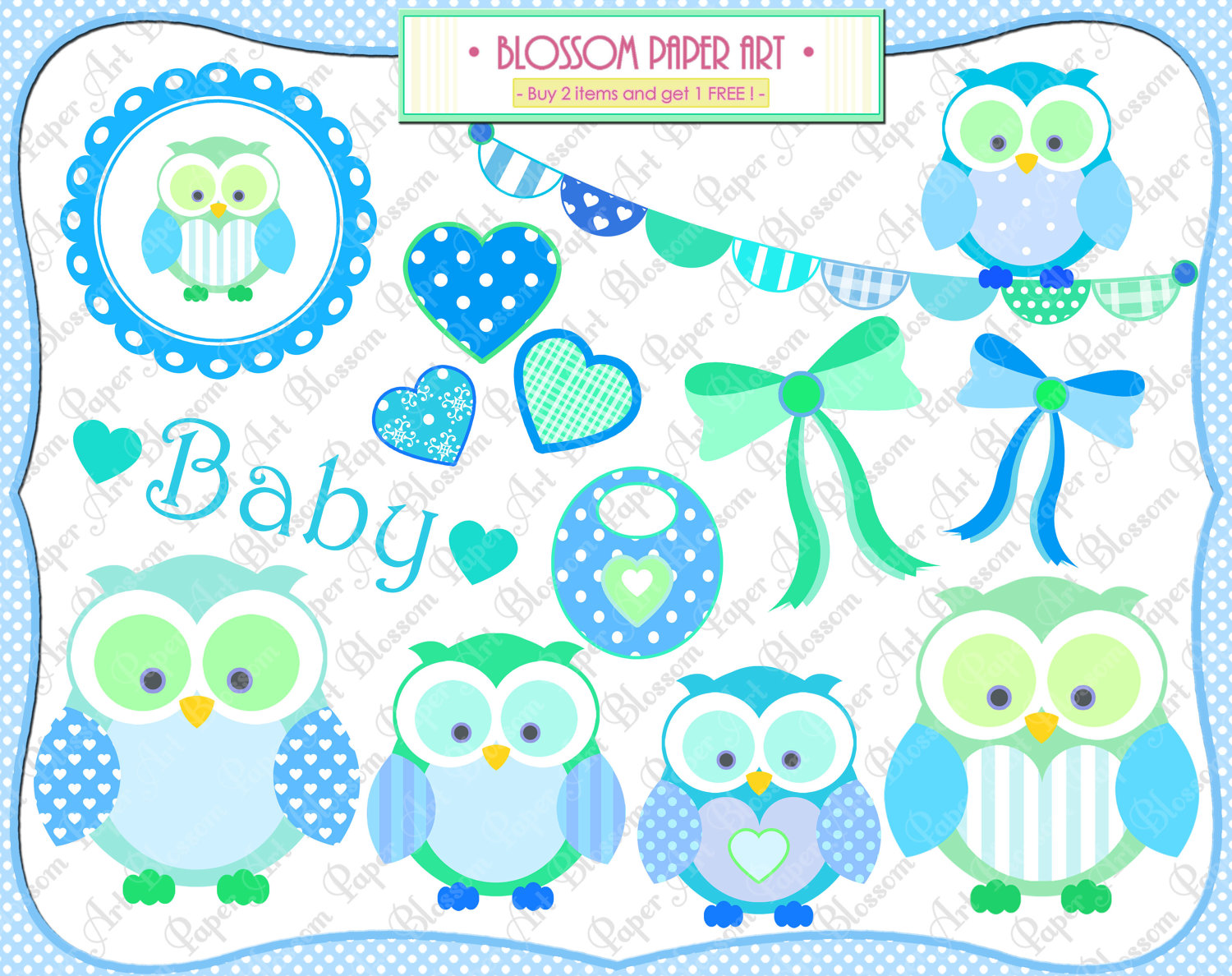 Baby Boy Owls Clipart.
