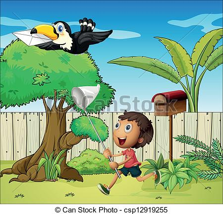 Clipart Vector of A boy catching the bird with an envelope.
