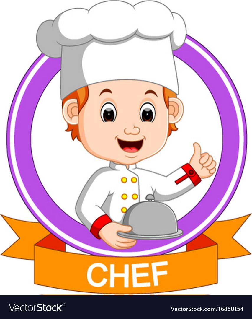 Chef boy holding plate dish.