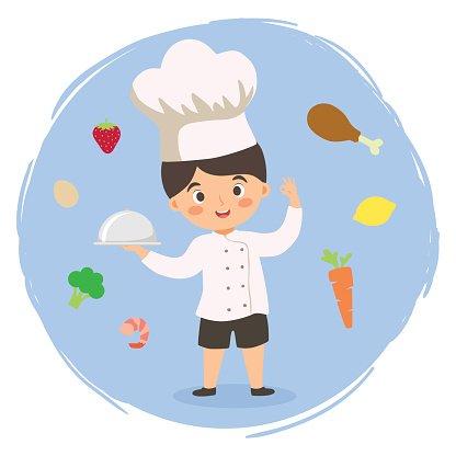 Chef Boy Cartoon Vector Clipart Image.
