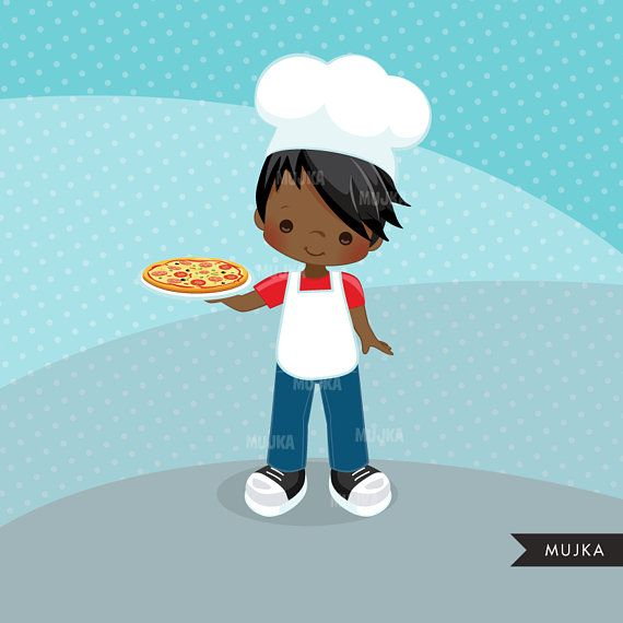 Pizza Chef Clipart. Little Boy Graphics, , embroidery.