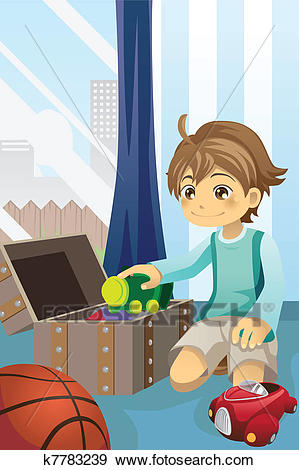 Boy cleaning up his toys Clip Art.