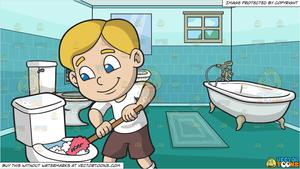 A Boy Cleaning The Toilet and An Apartment Bathroom Background.