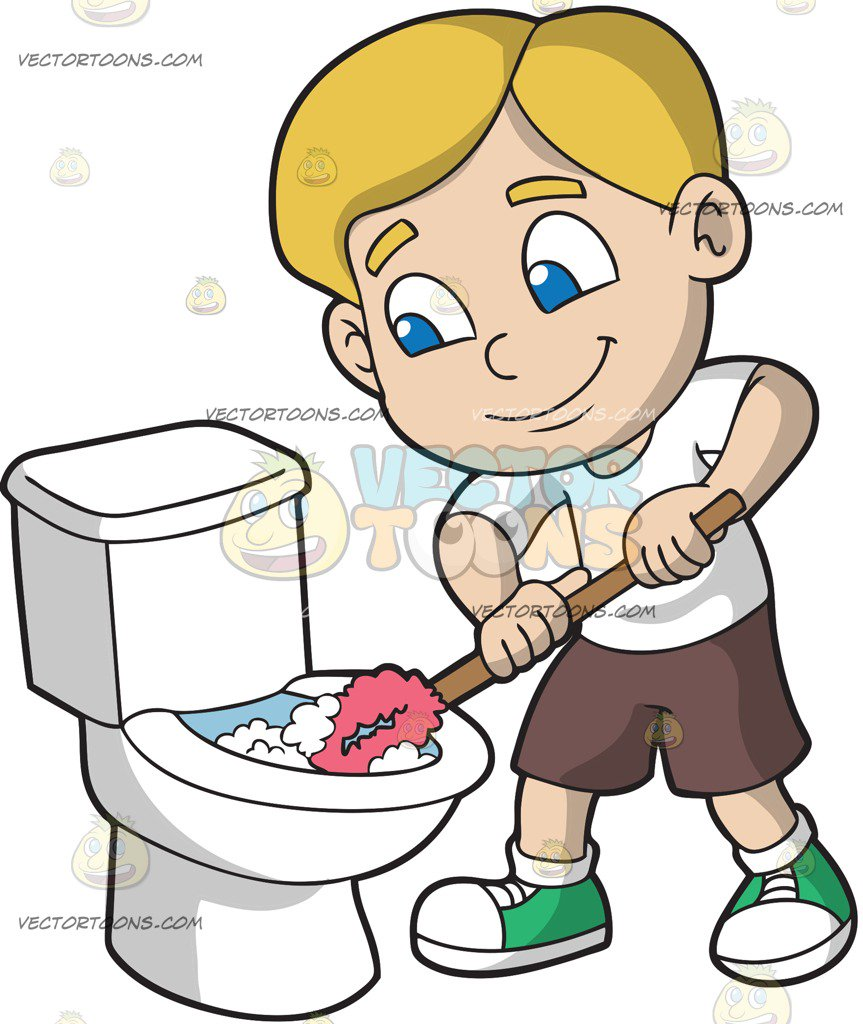 Toilet Cleaning Clipart.