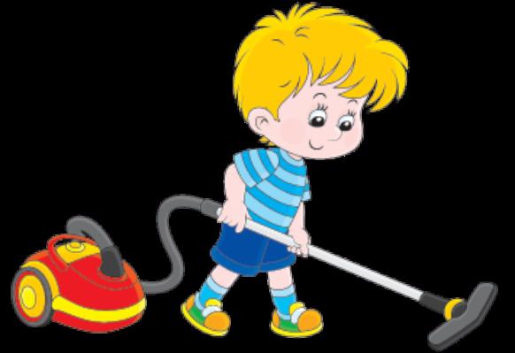 Boy Vacuuming Clipart.