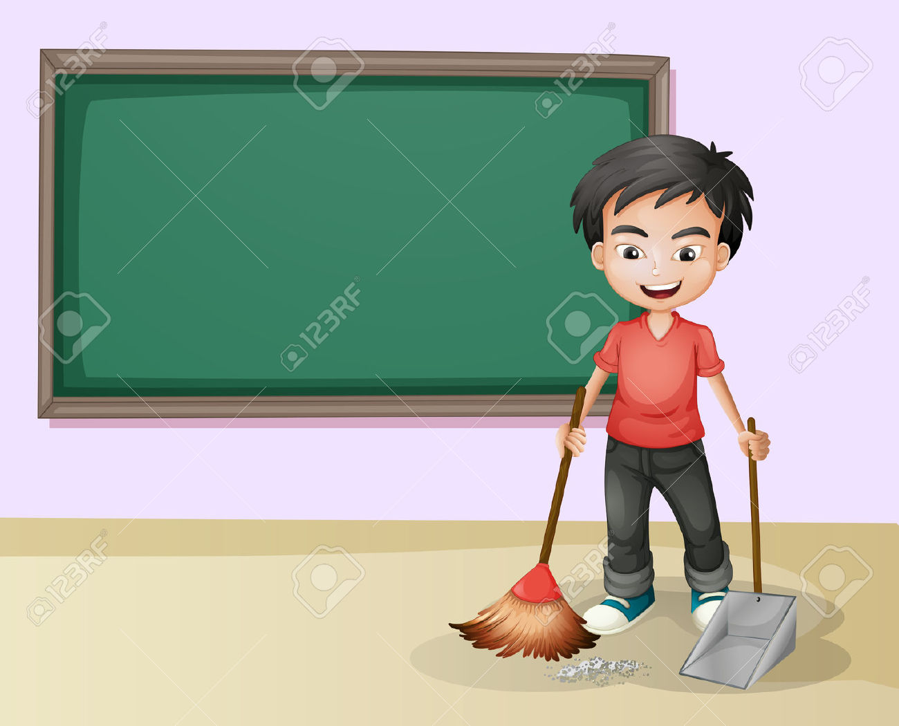 Illustration Of A Boy Cleaning In A Classroom Royalty Free.