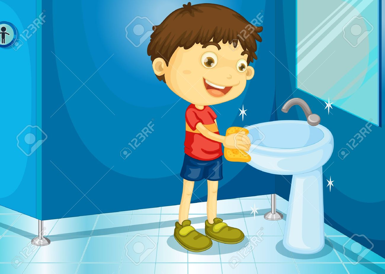 Boy Cleaning Restroom Clipart Free.