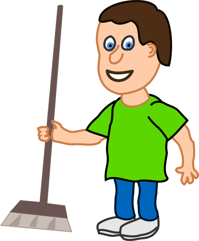 Boy Cleaning Clipart