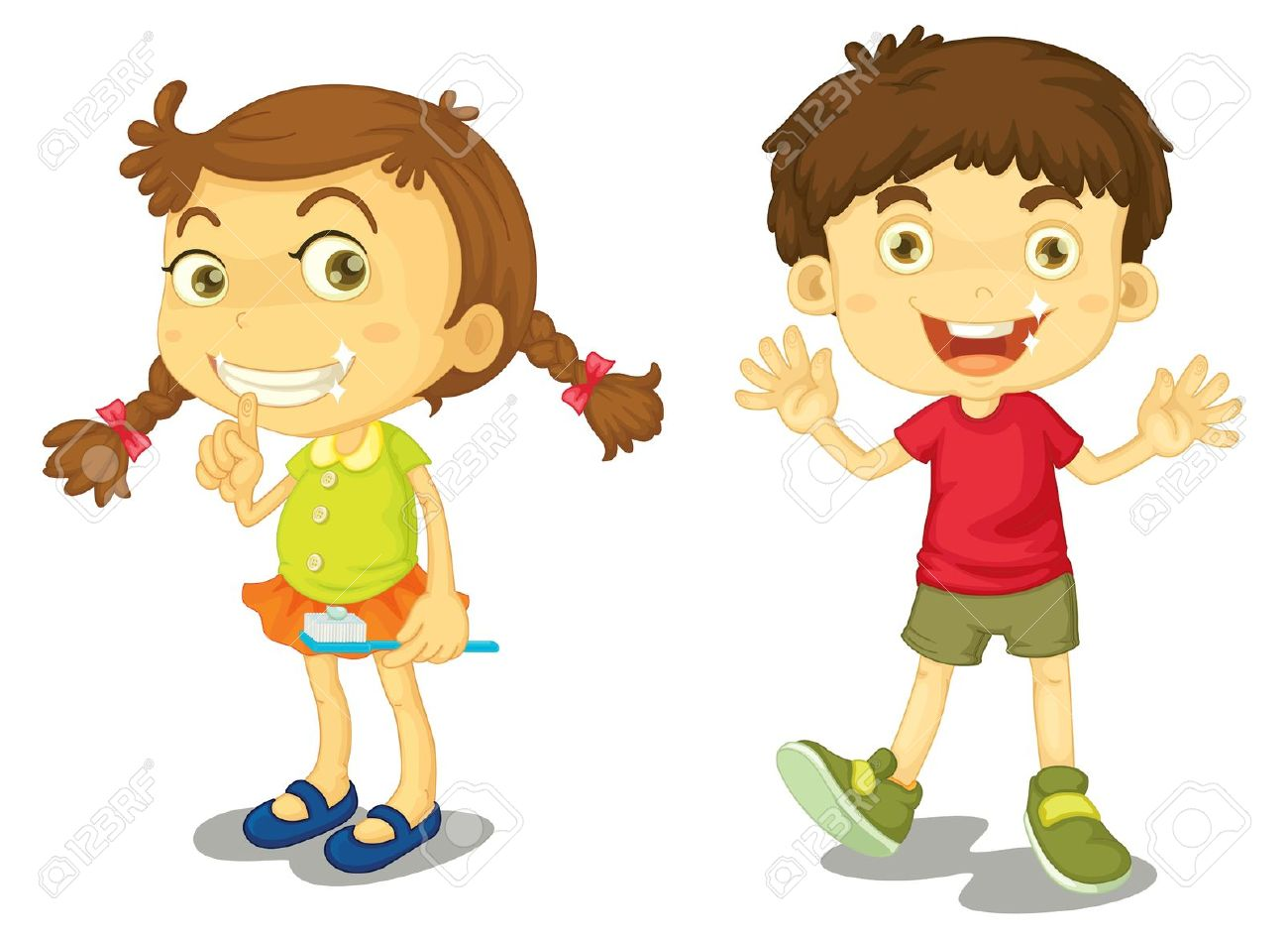 Boy And Girl With Clean Teeth Royalty Free Cliparts, Vectors, And.