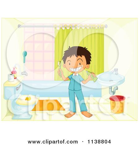 Cartoon Of A Happy Brunette Boy Cleaning A Restroom Sink 2.