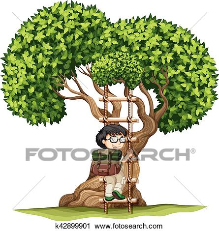 Boy climbing up the tree Clipart.