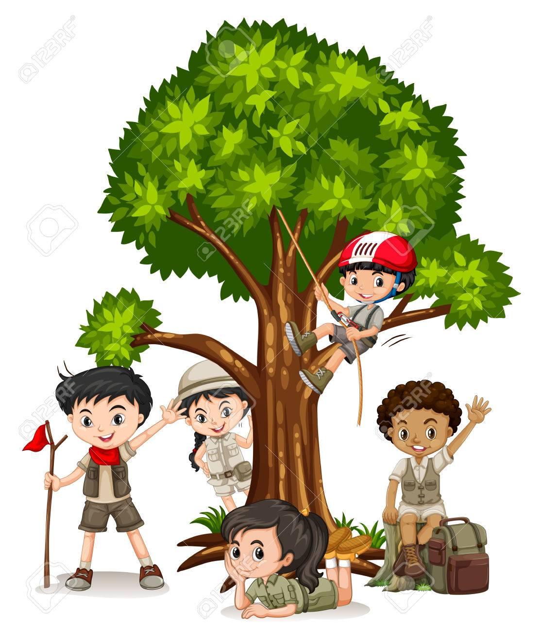 Boys and girls climbing tree illustration.