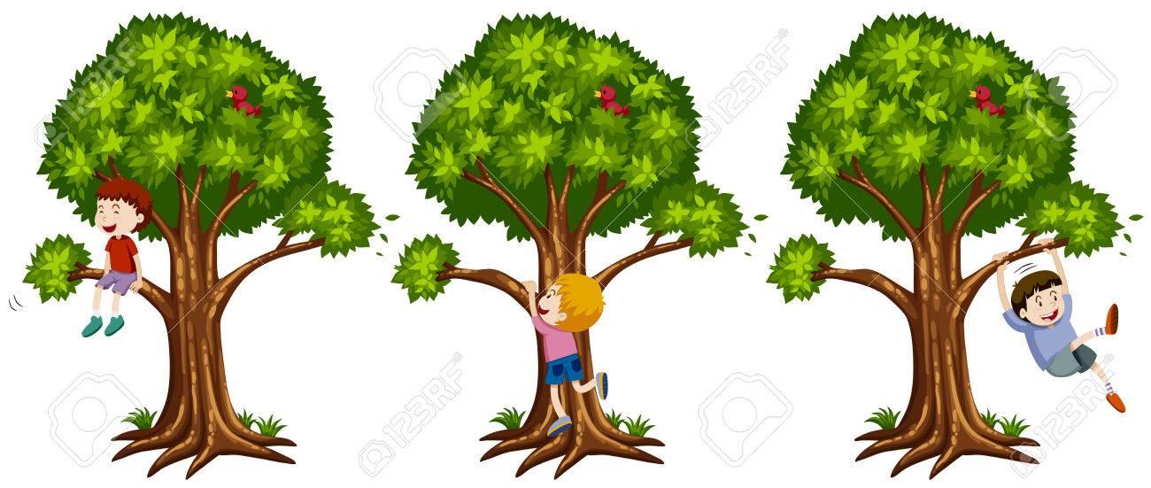 Boys climbing up the tree illustration.