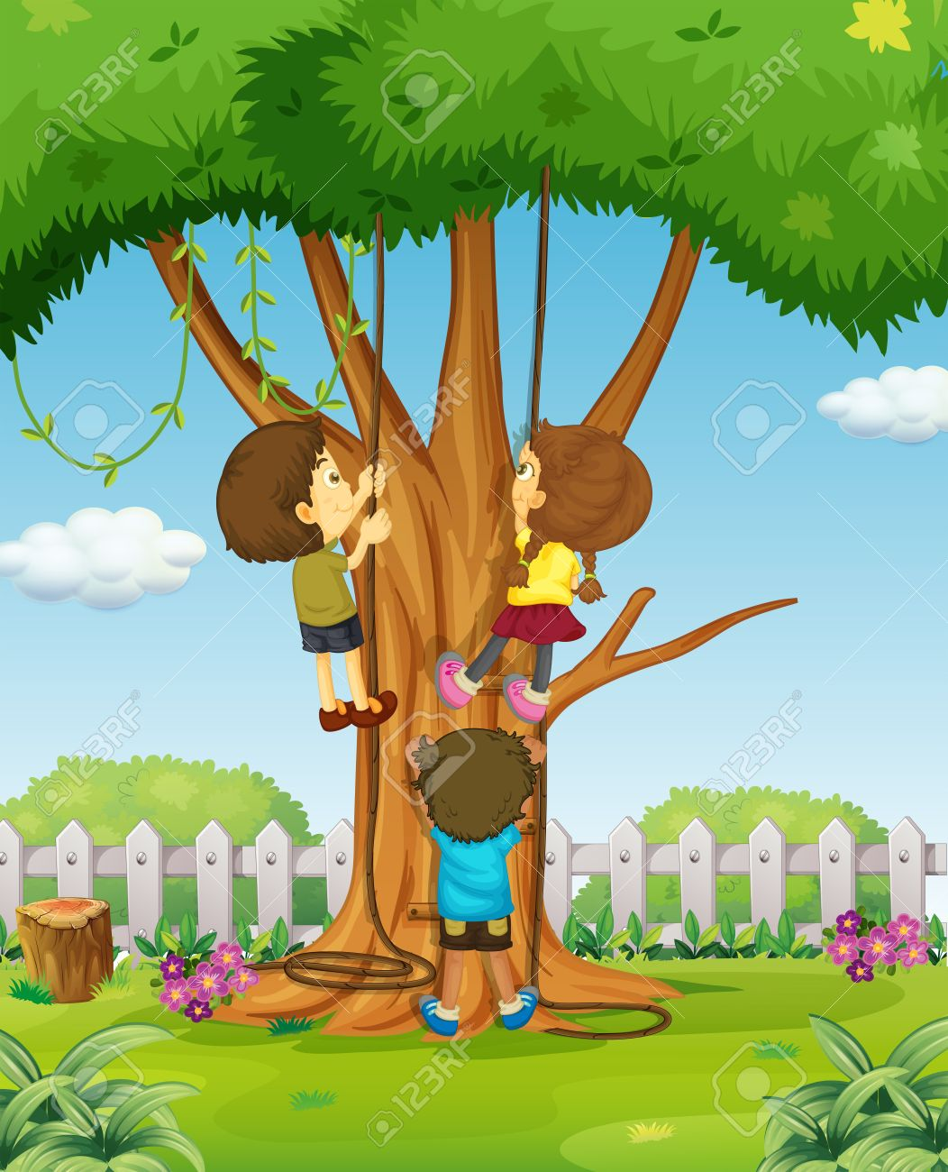 Boys and girl climbing up the tree illustration.