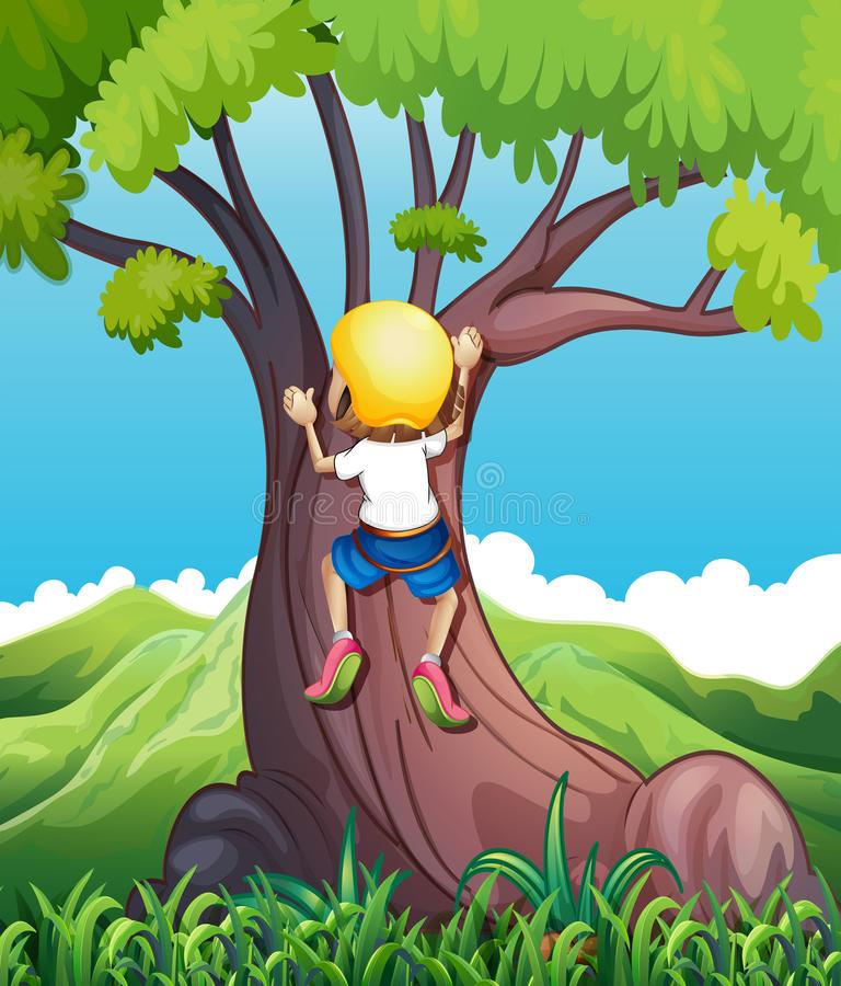 Girl Climbing Tree Stock Illustrations.