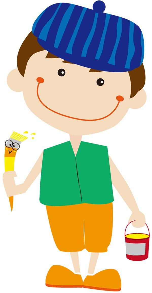 Boy cartoon pen   vector material.