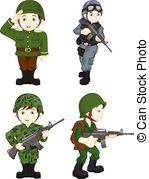 Clip Art Vector of army soldier boy posing.