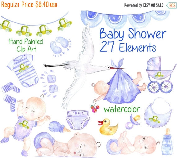SALE40% Watercolor baby boy clipart: BABY SHOWER.