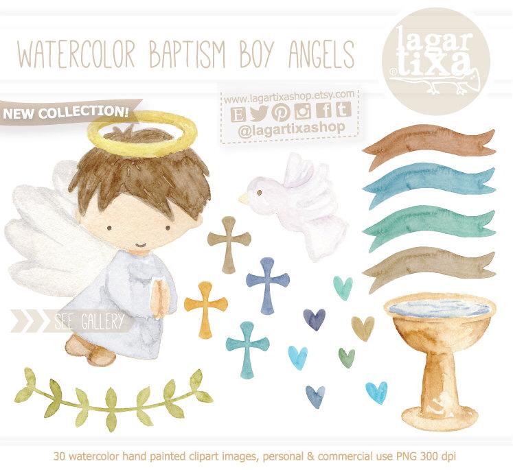 Watercolor Angel Baptism, hand painted, banner, ribbons, hearts.