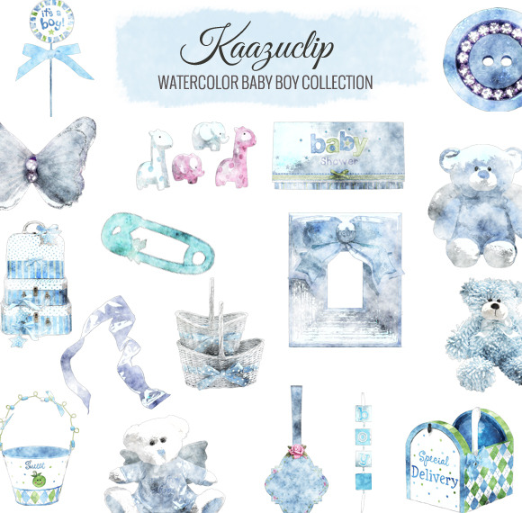 Watercolor Baby Boy Collection ~ Objects on Creative Market.