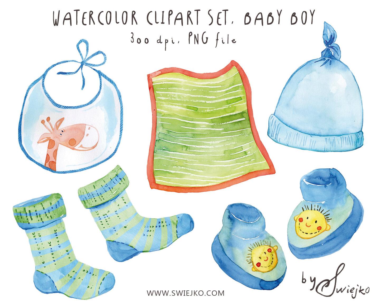 Watercolor Clip Art Watercolor Baby Set Baby Boy Clipart.