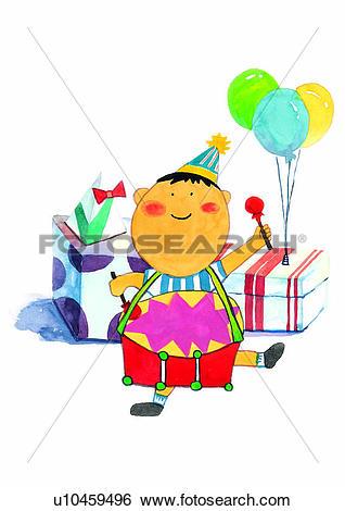 Stock Illustration of painting, birthday, gift, boy, child.
