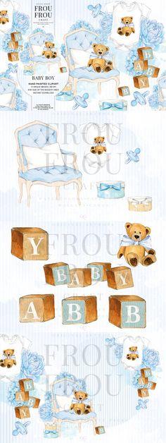 Watercolor Baby Boy elements.