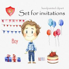 Digital clipart, clip art, watercolor boy and girl.