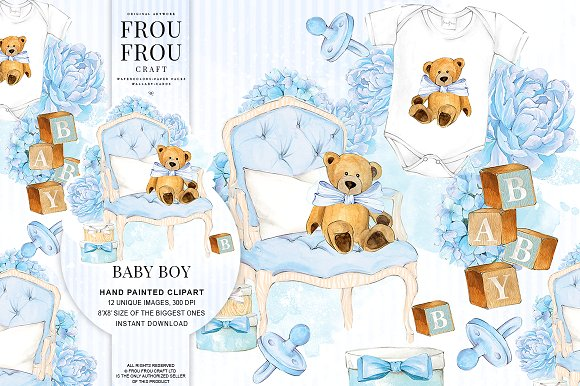 Watercolor Baby Boy Nursery Clipart ~ Illustrations on Creative Market.