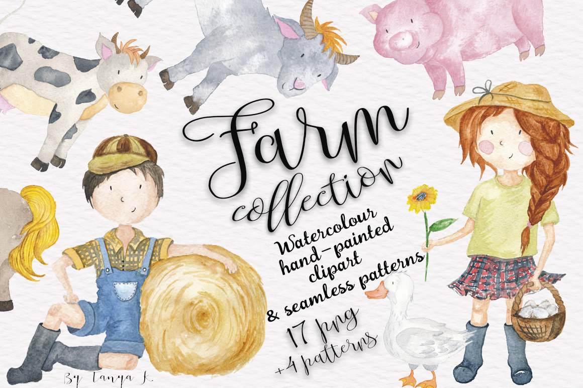 Kids Clipart, Watercolor Clipart, Farm Clipart, Farm Animals.