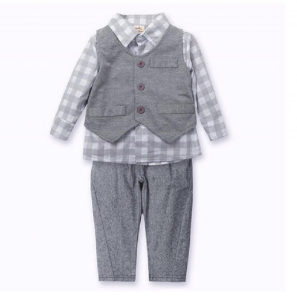 New Newborn baby boy Grey Waistcoat + Pants + Shirts clothes sets Suit 3PCS.