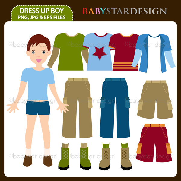 Boy Clothes Shopping Clipart.