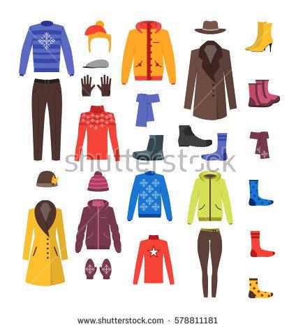 Set Cartoon Clothes Girl Boy Vector Stock Vector 115954132.