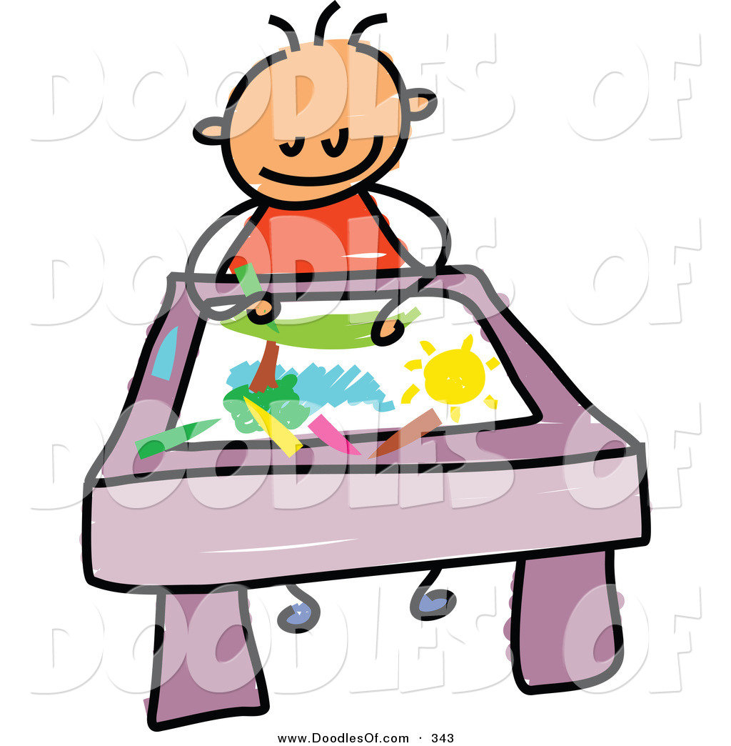 Vector Clipart of a Childs Sketch of a Smiling Toddler Boy.