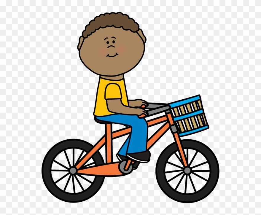 Boy Riding A Bicycle With A Basket.