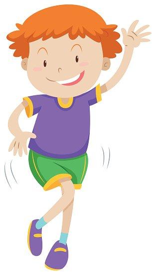Little boy dancing alone Clipart Image.