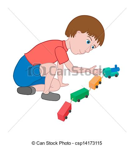 Boy Playing Alone Clipart.